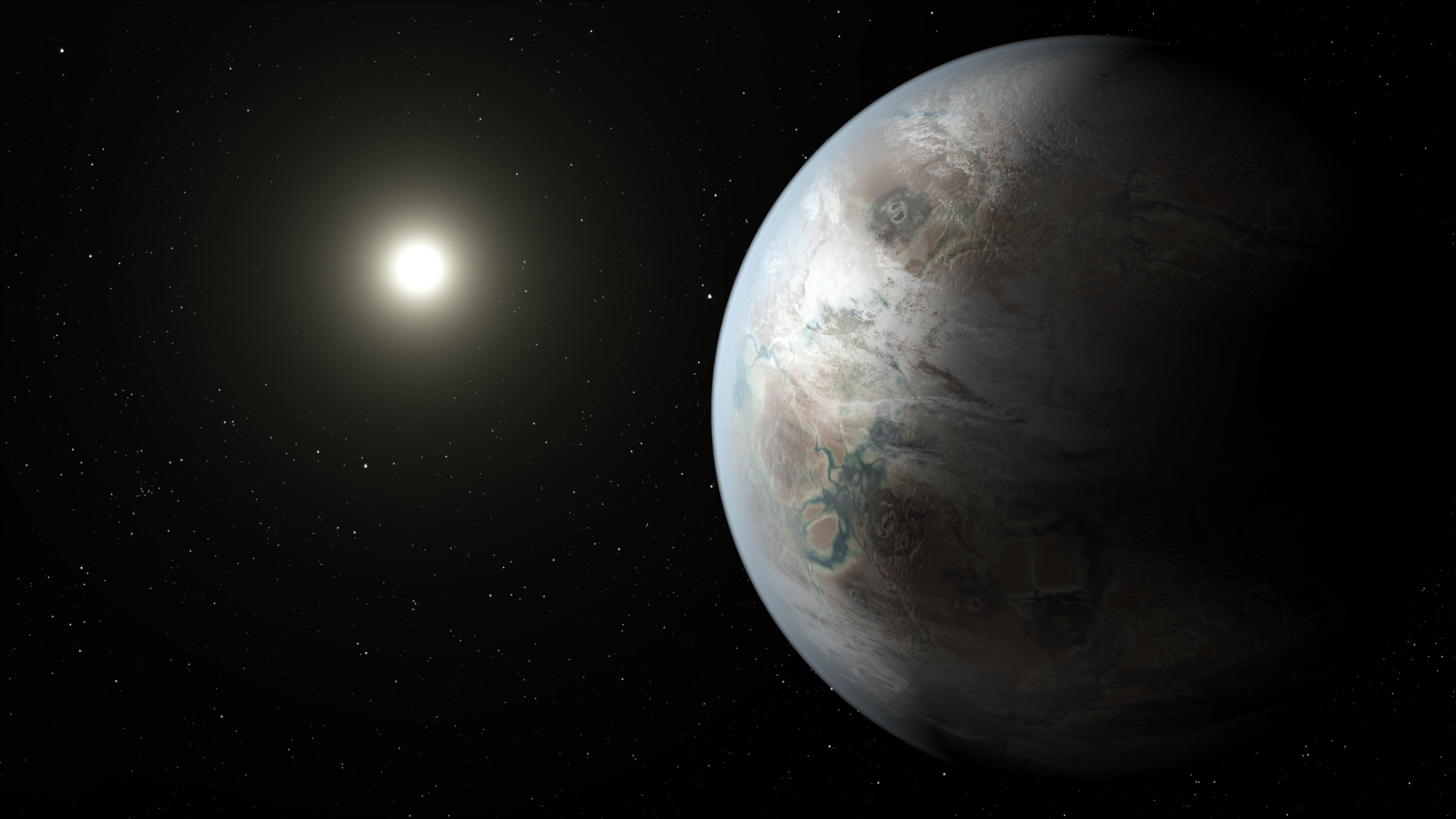 Concepção do Kepler-452b, exoplaneta em zona habitável de uma estrela igual ao Sol (Foto: Wikimedia/NASA)