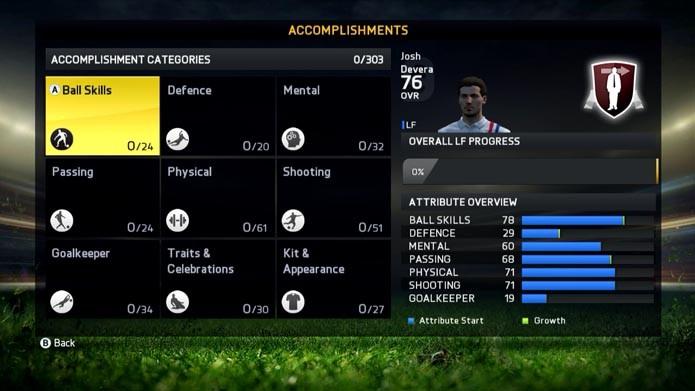 Acompanhe as melhorias do seu jogador (Foto: Reprodução/Murilo Molina)