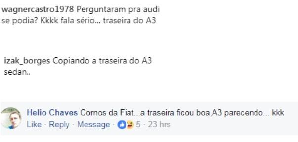 Comentários Fiat Cronos  (Foto: Reprodução Facebook e Instagram )