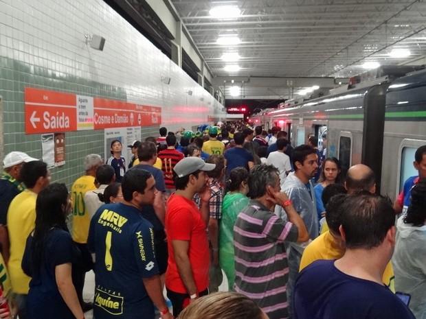 Estação Cosme e Damião, problemática na Copa das Confederações, operou com tranquilidade na Copa do Mundo (Foto: Débora Soares / G1)