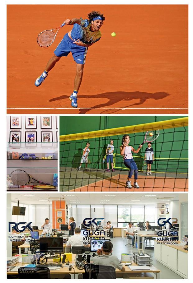 """Guga """"colorido"""" no saibro de Roland Garros: vitória nas quadras e fora delas, com a escolinha de tênis e uma empresa milionária, decorada no melhor estilo de uma startup (Foto: Caio Cezar; Getty Image)"""