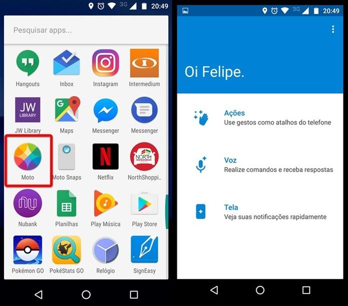 Acesse o aplicativo Moto (Foto: Felipe Alencar/TechTudo)