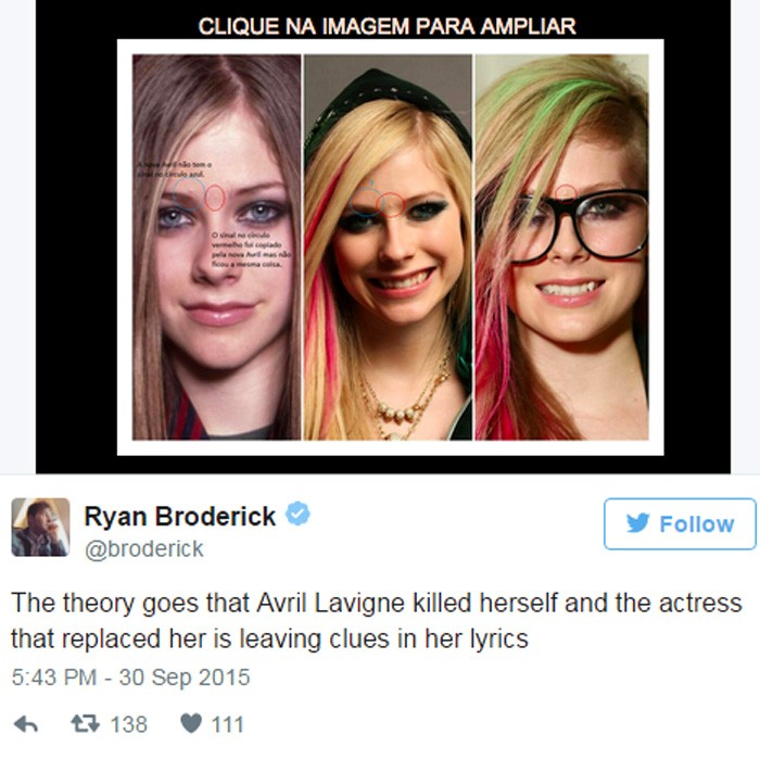 O tweet que trouxe à teoria de que Avril Lavigne estaria morta de volta (Foto: Reprodução/Twitter)