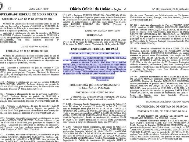 Publicação do Diário Oficial da União nomeava Carlos Maneschy. (Foto: Reprodução/ DOU)