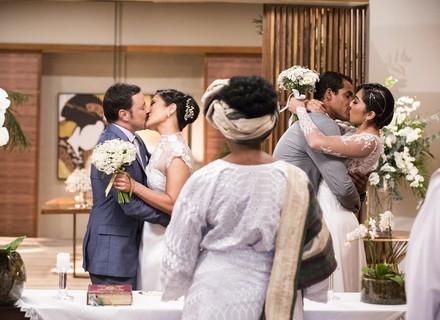 Cerimônia dupla! Yumi e Tiago se casam ao lado de Mieko e Damasceno