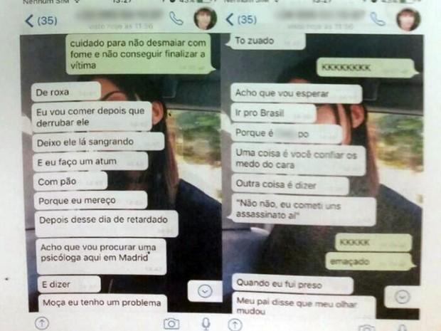 O assassino confesso brinca com o amigo sobre a morte do tio, Marcos Campos Nogueira (Foto: Reprodução/Polícia Civil da Paraíba)