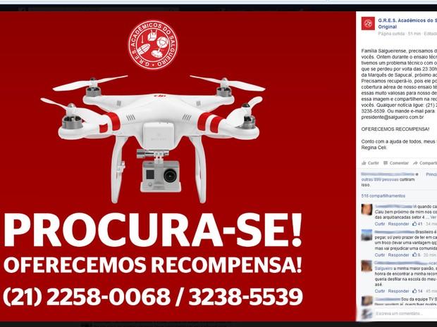 Salgueiro oferece recompensa por drone perdido (Foto: Reprodução / Facebook)
