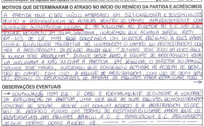 Súmula Bangu x Barcelona Carioca feminino - consumo drogas em campo