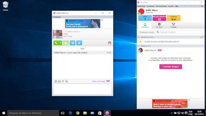 Usando o WowApp no Windows (Foto: Reprodução/Helito Bijora)
