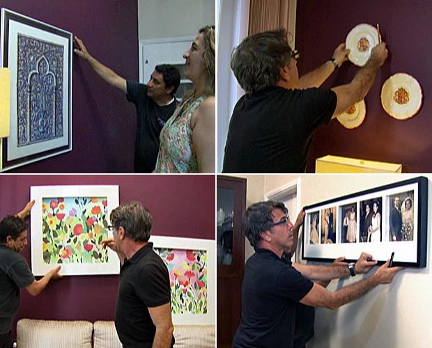 Jairo De Sender dá dicas valiosas para você não errar na hora de pendurar seus quadros (Foto: Mais Você/TV Globo)