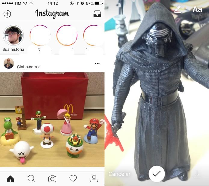 Como mencionar pessoas em fotos do Instagram Stories (Foto: Reprodução/Felipe Vinha)