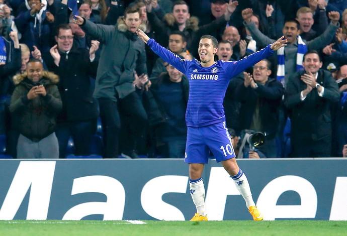 Hazard comemora gol do Chelsea contra o Maribor (Foto: Agência Reuters)