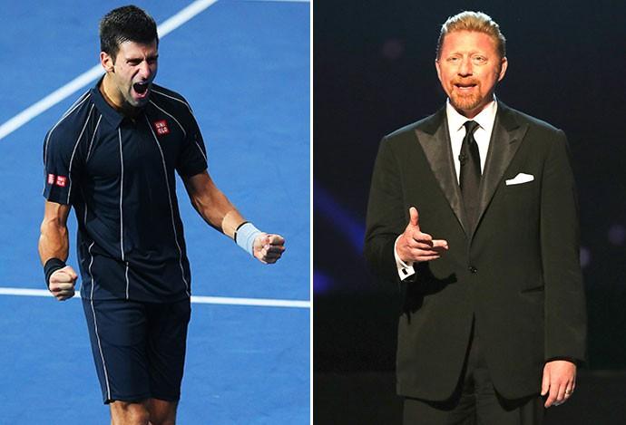 montagem tênis Djokovic e Boris Becker (Foto: Editoria de Arte)