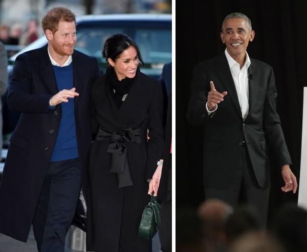 O Príncipe Harry, a atriz Meghan Markl e o ex-presidente dos EUA Barack Obama (Foto: Getty Images)