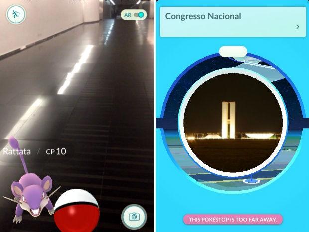 Pokémon aparece para captura em corredor do Senado, em Brasília; à direita, Congresso Nacional é mostrado como pokéstop (Foto: Niantic/Reprodução)