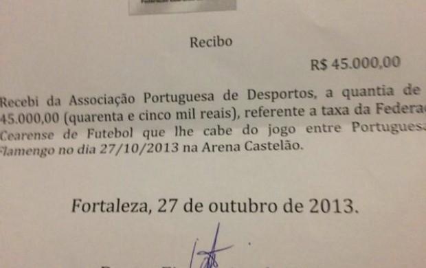 Documento mostrado pelo empresário da Xaxá Produções como suposta prova do pagamento dos valores após Lusa x Fla (Foto: Reprodução)