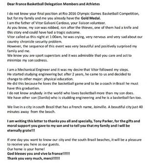 Pai de voluntário escreveu carta de agradecimento ao time francês (Foto: Reprodução)