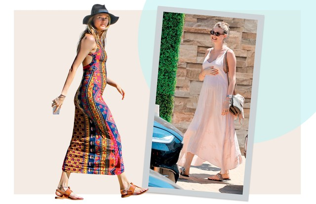 BOHO: Vestidos fluidos e decotados, com mood californiano, protagonizaram os looks de Behati Prinsloo (Foto: Alo Ceballos, Josiah Kamau, Daniel Zuchnik, Marc Piaseck e Dominique Charriau/ Gettyimages, Splash News, Grosby Group, Akm-gsi e Getty Images)