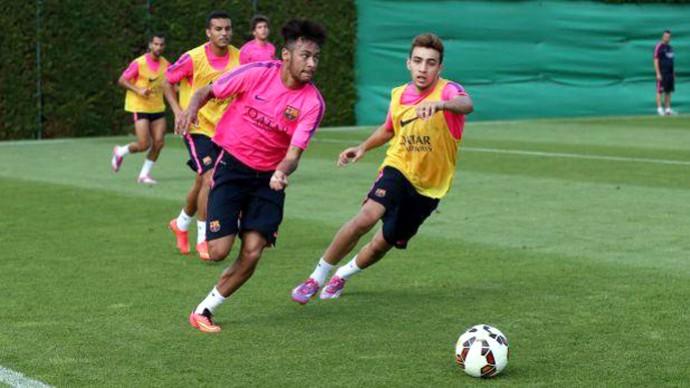 Neymar no treino do Barcelona (Foto: Reprodução / Twitter)