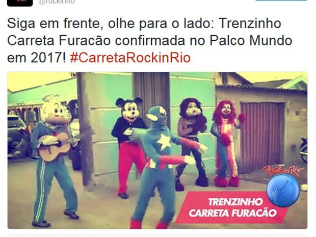 Rock in Rio faz brincadeira e sugere Trenzinho Carreata Furacão (Foto: Reprodução / Twitter)