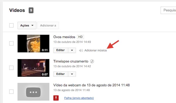 Acessando a ferramenta de trilha sonora em um vídeo sem áudio no YouTube (Foto: Reprodução/Marvin Costa)