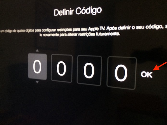 Configurando um código de restrições de quatro dígitos na Apple TV (Foto: Reprodução/Marvin Costa)