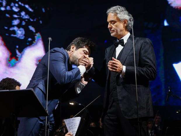 Daniel e Andrea Bocelli em show em Curitiba, no Paraná (Foto: Manuela Scarpa/ Brazil News)