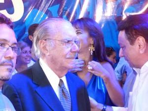 José Sarney oficializou desistência da candidatura em convenção do PMDB, no Amapá (Foto: Dyepeson Martins/G1)