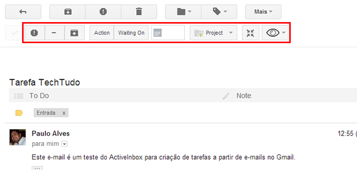 Activeinbox inclui uma série de botões na janela do e-mail (Foto: Reprodução/Paulo Alves)