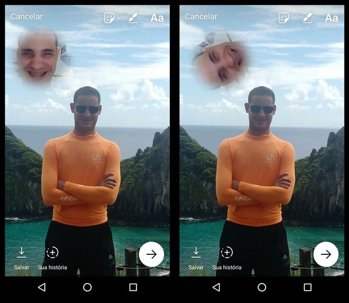Você pode aumentar, diminuir e mudar a posição do seu selfie sticker (Foto: Felipe Alencar/TechTudo)