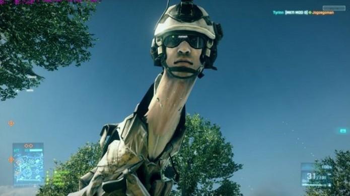 Battlefield 3: jogo apresentava bizarro bug que deformava personagem (Foto: Reprodução/Reddit)