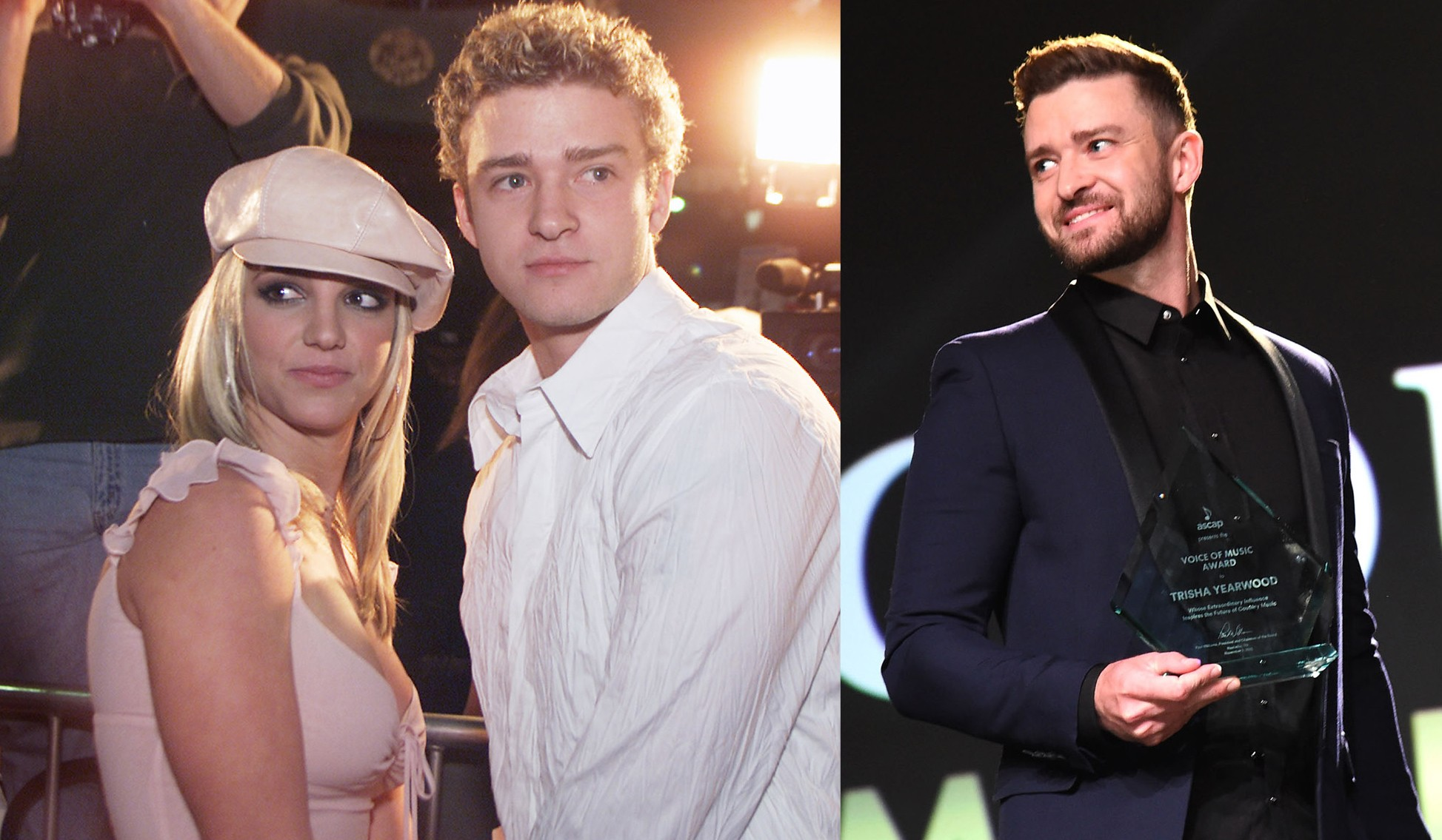 Justin Timberlake e Britney Spears em 2002. E Justin Timberlake em 2015 (Foto: Getty Images)