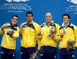 Fratus, Nilo, João e Chierighini Pan PAC natação (Foto: Satiro Sodré / Divulgação CBDA)