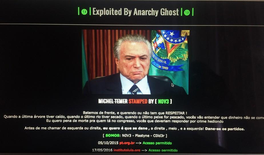 Hackers invadem site do PMDB sobre Temer com ataque a políticos