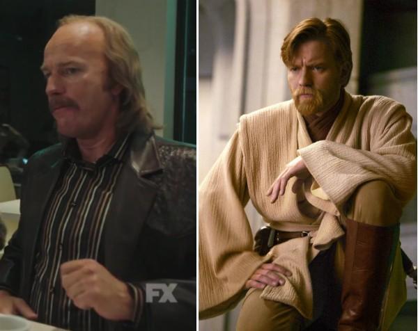 O ator Ewan McGregor na prévia de 'Fargo' e em 'Star Wars' (Foto: Reprodução)