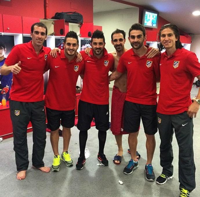 Jogadores do Atlético de Madrid comemoram classificação na Champions (Foto: Reprodução/Instagram)