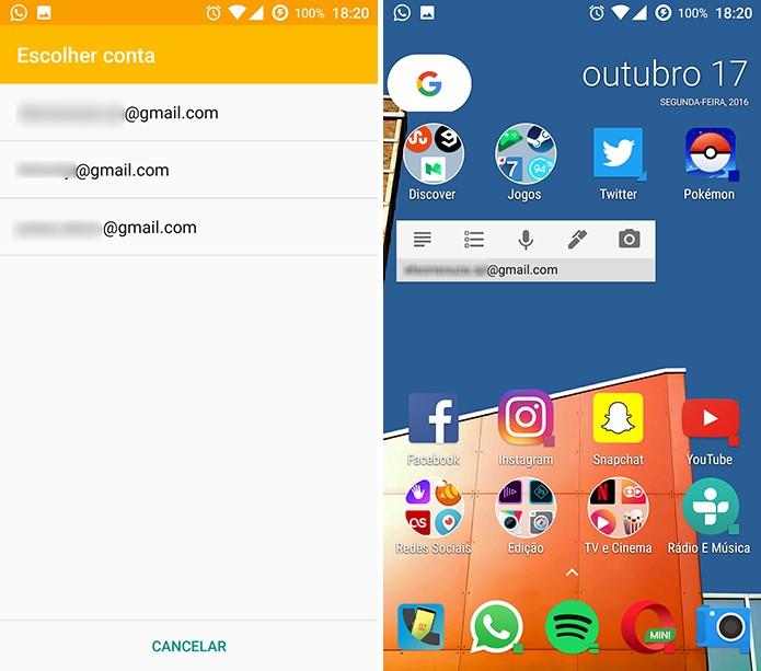 Google Keep precisa que usuário selecione a conta que será usada no app (Foto: Reprodução/Elson de Souza)