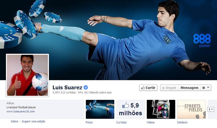 Luis Suarez do Liverpool tem 5,843,599 de fãs no Facebook (Foto: Reprodução/Facebook)