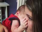 Cristiana Oliveira posta foto do netinho com a filha caçula