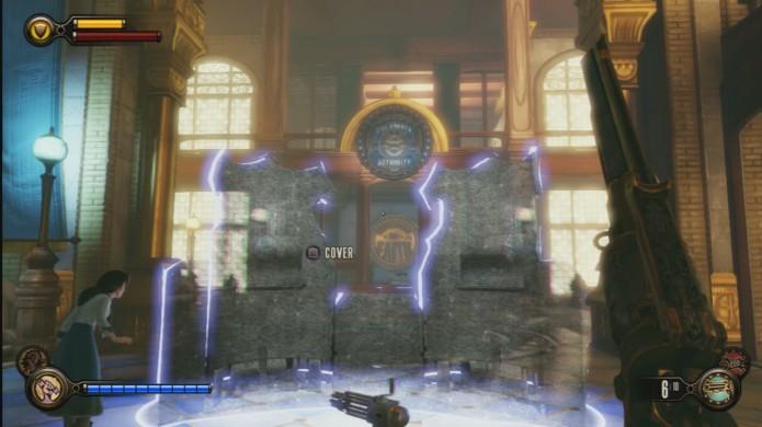 Bioshock Infinite: vire a esquerda no portal de esconderijo para encontrar o Voxophone (Foto: Reprodução/IGN Wiki)