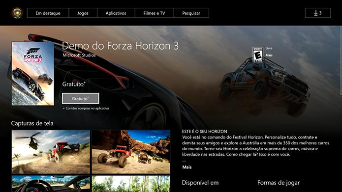 Inicie o download da demo do Forza Horizon 3 (Foto: Reprodução/Murilo Molina)