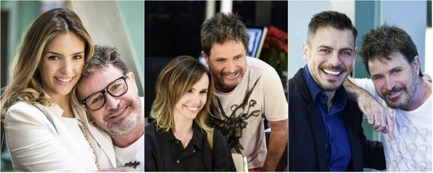 Wanderley Nunes cuida dos cabelos de Carol Celico, Débora Falabella e Luigi Baricelli (Foto: Divulgação)