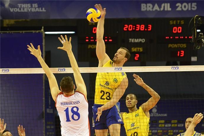 Brasil x Sérvia Riad liga mundial vôlei (Foto: Alexandre Arruda/CBV)