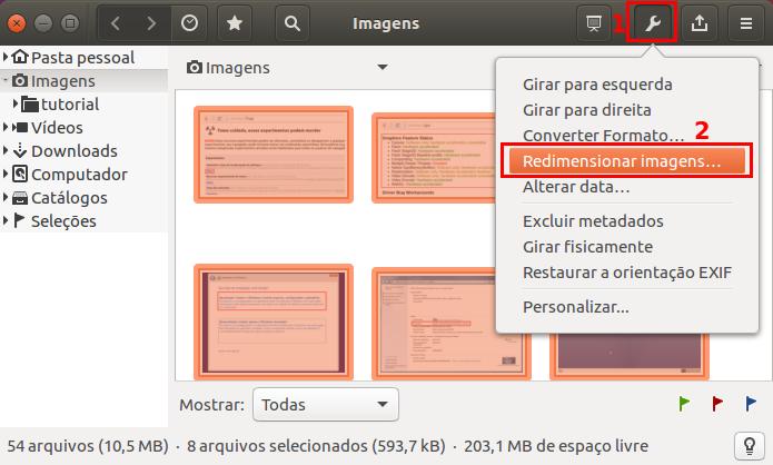 Acessando a opção que redimensiona imagens no gThumb (Foto: Reprodução/Edivaldo Brito)