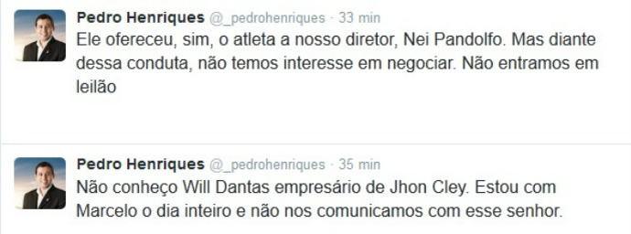 Pedro Henriques Jhon Cley (Foto: Reprodução / Twitter)