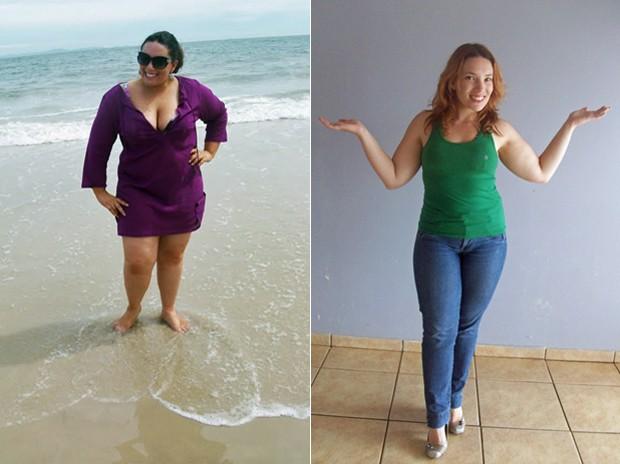 Karla estava a apenas 5 kg de chegar à obesidade mórbida; fotos mostram a catarinense antes e depois (Foto: Arquivo pessoal)