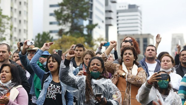 Hoje é o terceiro dia da greve dos professores da rede estadual de ensino (Foto: Giuliano Gomes/ Agência PRPRESS)