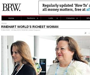 Gina Rinehart (direita), herdeira da empresa de mineração  Hancock (Foto: Reprodução/Business Review Weekly (BRW))