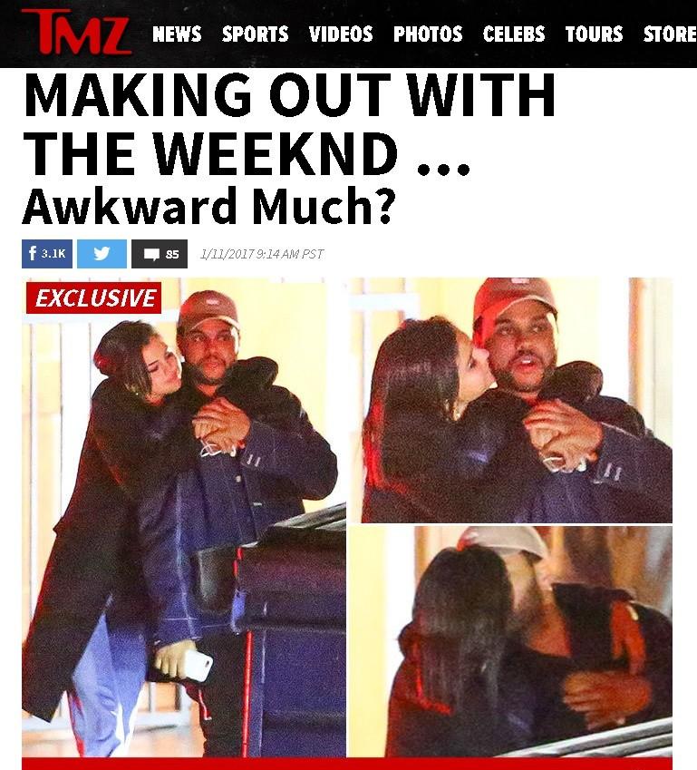 TMZ flagrou The Weeknd e Selena Gomez aos beijos e abraos, depois de jantar (Foto: Reproduo/TMZ)