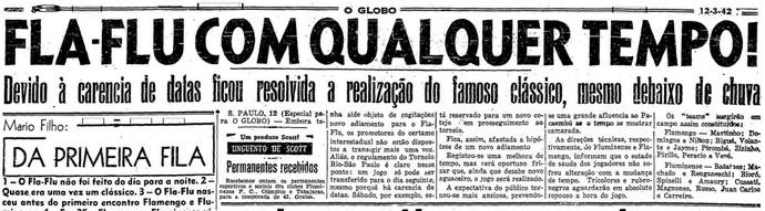 """A apresentação do jogo feita por """"O Globo"""", Flamengo, Fluminense (Foto: Reprodução/O Globo)"""